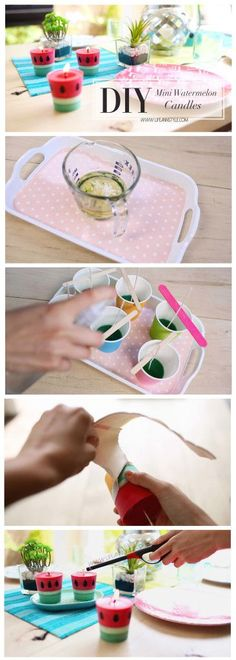 LifeAnnStyle Learn how to DIY Cute & Easy Mini Watermelon Citronella Candles | LifeAnnStyle.com