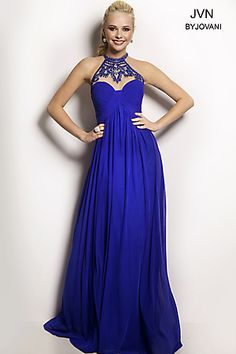 Empire Waist Blue Gown JVN22363