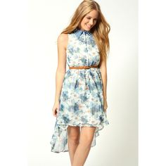 Louise Floral With Denim and Pearl Collar Mixi Dress ($40) ❤ liked on Polyvore