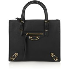 Balenciaga Papier A4 mini textured-leather tote (13,665 EGP) ❤ liked on Polyvore featuring bags, handbags, tote bags, black, mini backpack purse, black purse, mini purse, miniature purse and top handle tote