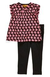 Nicole Miller Quilted Houndstooth Babydoll Tunic & Leggings (Toddler Girls & Little Girls)