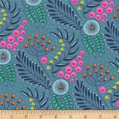 Michael Miller Patty Sloniger Flower Shop Botanika Periwinkle from @fabricdotcom  From Michael Miller, this cotton print fabric is perfect for apparel, quilting, and home decor accents. Colors include shades of blue, pink, green, yellow, orange, and white.