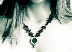Black  Lace necklace. Victorian Statement jewelry  by CallOfEarth on Etsy , $135.00