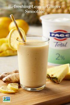 Healthy Juices, Healthy Smoothies, Healthy Drinks, Healthy Snacks, Ginger Smoothie, Smoothie Drinks, Smoothie Recipes, Lemon Smoothie, Juice Recipes