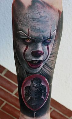 Gallery on this page demonstrates realistic tattoos. The main feature which characterizes these tattoos is Horror Movie Tattoos, Scary Tattoos, Cool Tattoos For Guys, Leg Tattoos, Body Art Tattoos, Sleeve Tattoos, Tatoos, Voodoo Tattoo, Clown Tattoo