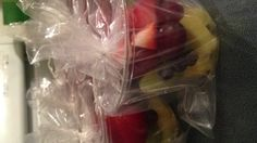 Fresh fruit cups preschool snack. Clear plastic cups layered with fresh fruit, wrapped in a cheap baggie and sealed with a twist tie.