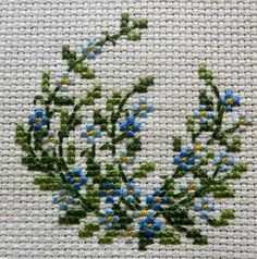 Forget me not Cross Stitch Embroidery Small Cross Stitch, Cross Stitch Cards, Cross Stitch Flowers, Cross Stitch Designs, Cross Stitching, Cross Stitch Embroidery, Cross Stitch Patterns, Floral Embroidery Patterns, Hand Embroidery Designs