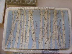 Birch work  -Slip resist with sgraffito'd details..