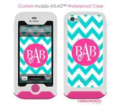 Pink, Blue, and White chevron phone case