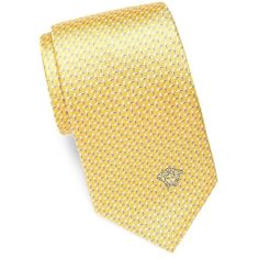 Versace Collection Medusa Herringbone Silk Tie (78 CAD) ❤ liked on Polyvore featuring men's fashion, men's accessories, men's neckwear, ties, mens silk ties, mens ties, mens yellow tie and mens blue tie