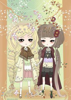 Mori Girls by ~Minty-Kitty-Art on deviantART  Mori Girl and Dark Mori Girl