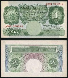Great Britain One Pound Banknote; Britannia on Front Saint George on Back Signed K. Money Notes, Bank Of England, One Pound, Old Money, Prefixes, Saint George, Old English, Stamp Collecting, Postage Stamps