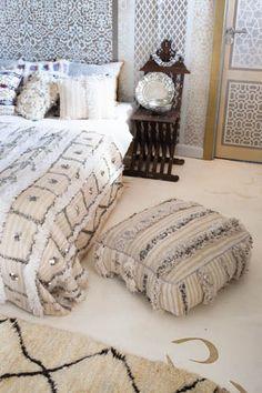 Moroccan Wedding Blanket Pouf