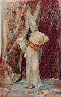 Henri Regnault (1843-1871) – Intérieur du harem (1870) Crayon, aquarelle et rehauts de gouache sur papier