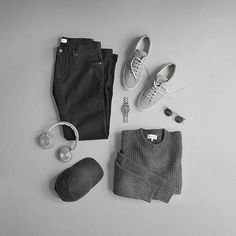 The Pantone Cool Gray family has always been my favorite.  Shoes: @commonprojects Achilles Grey Wool Jeans: @saturdaysnyc Charlie Slim Sweater: @ledburyshirts Charcoal Heather Woodside Crew Sunglasses: @finlayandco Percy Headphones: @beoplay H7 Cap: @varsityheadwear Cashmere Watch: @hamiltonwatch Seaview Day/Date