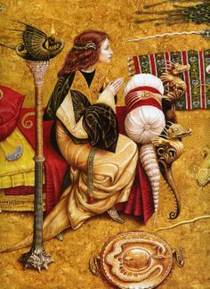 From Child Roland and Other Knight's Tales, fairy tale illustration (detail) by Kiev artist, Vladislav Erko Art And Illustration, Book Illustrations, Fantasy Kunst, Fantasy Art, Fairy Tale Images, Art Magique, Photo D Art, Fairytale Art, Pre Raphaelite