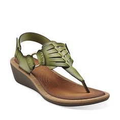 Millie Flare in Green Synthetic - Womens Sandals from Clarks