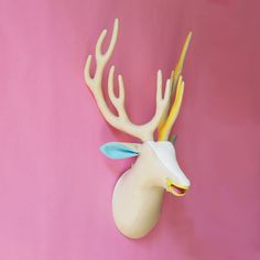Colorful small fabric deer head , faux taxidermy , zipper mouth - pastel