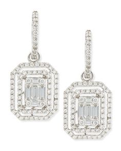 P5298 Platinum Heart Emerald-Cut Diamond Hook Earrings with Illusion Setting and Double Halos