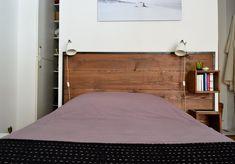 Amandine & Amaury's Little Loft in Paris-love the headboard! Diy Home Decor Bedroom, Cozy Bedroom, Atelier Loft, Condo, Paris Home, Global Home, Paris Apartments, Closet Bedroom, Apartment Design