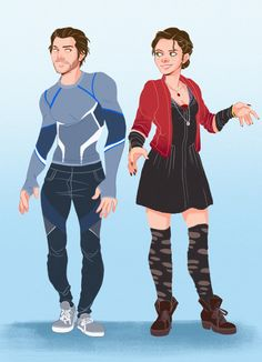 Assassin'screed and Avengers crossover. Jacob as Quicksilver and Evie as Scarlet Witch