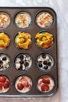 Savory muffins: Quick basic recipe for a thousand different flavors! - muffins with vegetables, olives, cheese, courgette flowers – Salty muffin recipe Best Picture For - Clean Eating Snacks, Healthy Snacks, Appetizer Recipes, Appetizers, Savory Muffins, Pizza Muffins, Antipasto, Finger Foods, Love Food