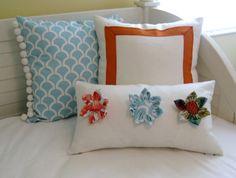 SewSusie Deigns Custom Flower Lumbar Pillow by SewSusieDesigns, $75.00