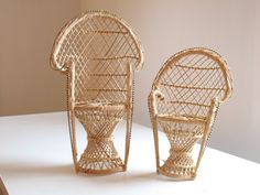 Fun little wicker peacock chair plant stands. Or fun 1970s prop or boho styling item. Or a retro doll chair!  Both are in very good condition. Listing is for one chair. Choose your size.  Larger chair measures 15 3/4 inches tall and 9 1/2 inches wide. Seat is approximately 6 inches in diameter.    More Old stuff to Love! https://www.etsy.com/shop/oldstufflove  Like rusty farm finds? Stop over to my other store https://www.etsy.com/shop/Keeping...