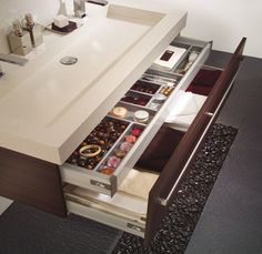 Double layer drawer. Clever.