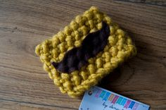 Moss Stitch Mustard Mustache Knit Coffee Cozy by KnittingbySengul on Etsy