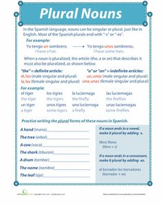 Worksheets: Spanish Plural