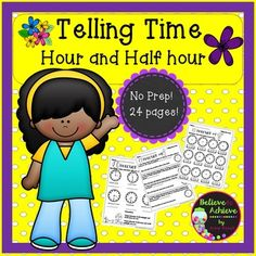 Telling Time Practice! Hour and Half Hour! 24 pages!  This is the PERFECT practice for working on telling time to the nearest hour and half hour. This resource would work great for grades 1-2 and for older students who need some reinforcement. Answer keys are included!