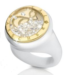 White ceramic ring with 18k yellow gold and 0.50 ct. t.w. round-brilliant-cut diamonds; $2,490