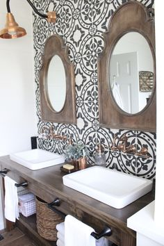 Farmhouse style bathroom: Like the cement tile, sink & counters. Not sure about the copper accents