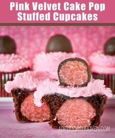 Pink Velvet Cake Pop Stuffed Cupcakes by Love From The Oven
