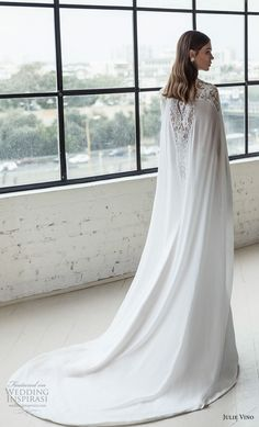 julie vino 2019 romanzo bridal sleeveless deep plunging sweetheart neckline heavily embellished bodice romantic fit and flare wedding dress with cape low v back chapel train (8) bv -- Romanzo by Julie Vino 2019 Wedding Dresses