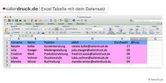 Excel Tabelle mit dem Datensatz - SalierDruck