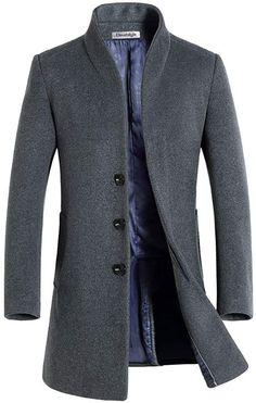 Jacke Mantel Herren Diamant Winter Blau Slim Fit Casual Elegant aus Wolle