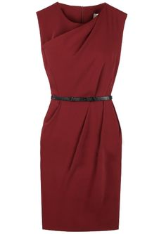 Red Sleeveless Back Zipper Belt Sundress