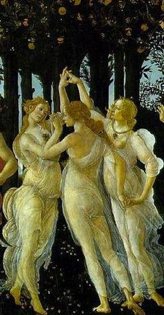 The Three Graces from Botticelli's painting The Allegory of Spring (Alusión a mis 3 A) Giorgio Vasari, Sandro, Tarot, Renaissance, Triple Goddess, Famous Art, Caravaggio, Italian Art, Old Master