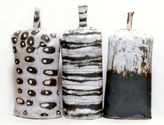 Three Stoneware Clay Glaze Bottles By Ceramic Artist Brenda Holzke www.