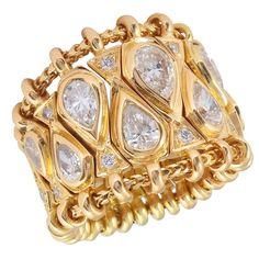 An articulated yellow gold and diamond 'Passementerie' ring. Opal Jewelry, Diamond Jewelry, Jewelry Rings, Jewelry Accessories, Fine Jewelry, Gold Jewellery, Jewlery, Jewelry Box, Col Crochet
