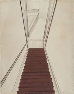 """""""Charles Sheeler (American, Stairway to the Studio, Black chalk and matte opaque paint (possibly casein) on laid paper, x cm. Vanishing Point, Stair Steps, Digital Museum, Collaborative Art, Stairways, Architecture Art, Studio, American, Photography"""