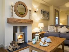 The cosy and luxurious sitting room at Plum Tree Cottage in Keswick. The owner i… The cosy and luxurious sitting room at Plum Tree Cottage in Keswick. The owner is an interior designer and the house is beautifully furnished throughout. Cottage Living Rooms, Cottage Interiors, New Living Room, Home And Living, Living Spaces, Cosy Living Room Small, Modern Living, Log Burner Living Room, Cottage Lounge