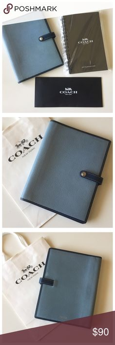 """Coach- Planner w/NEW 2017 Insert Refill Included Beautiful """"pre-loved"""" item. In really good shape still. Some wear from use- not new but so worth it. The larger 8.5x6.5 Coach Cover/Case in light blue/dark blue. Signature C lining and slots for cards (business or credit) Insert is the 2017 daily planner. New in package, still wrapped. I just got new insert for myself, but I'll order another and let you have this. Included in price. Paid 21.00 for it. There's a spot for a pen, That I don't…"""