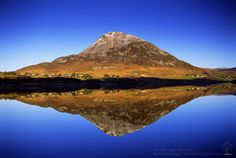 Errigal Mountain reflected in Dunlewy Lough, Donegal Ireland Pictures, Irish Landscape, Blog Pictures, Nature View, Sunny Beach, Donegal, Back Home, Landscape Photography, Beautiful Places