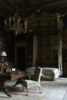 A tapestry-covered bedroom at Holkham Hall, another grand estate nearby.