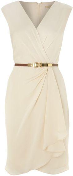Michael By Michael Kors Beige Sleeveless Vneck Shift Dress