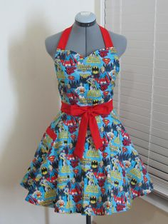Super Woman Apron - Wonder Woman - Bat Girl - Super Girl- Full of Twirl Flounce - Ready to ship