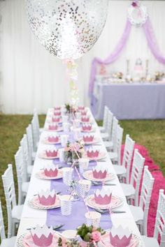Long and gorgeous party table with chiavari chairs from an Elegant Purple Princess Birthday Party at Kara's Party Ideas.